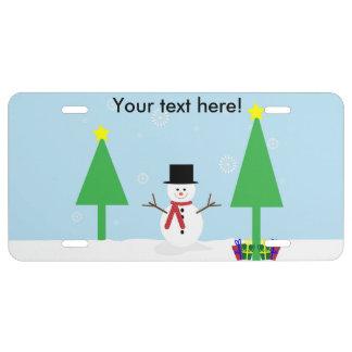 Christmas snowman cartoon license plate