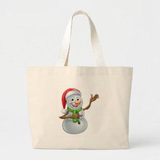 Christmas Snowman Cartoon Santa Hat Character Poin Large Tote Bag
