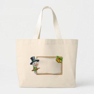 Christmas Snowman Cartoon Sign Large Tote Bag