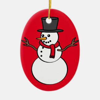 Christmas Snowman Ceramic Oval Decoration