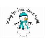 Christmas Snowman Cervical Cancer Ribbon Postcards