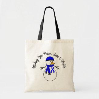 Christmas Snowman Colon Cancer Ribbon Budget Tote Bag