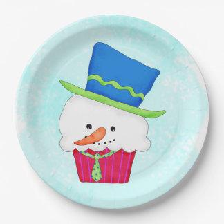 Christmas Snowman Cupcake Art Dessert Party 9 Inch Paper Plate