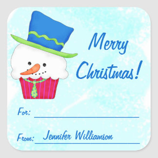 Christmas Snowman Cupcake Gift Label Sticker