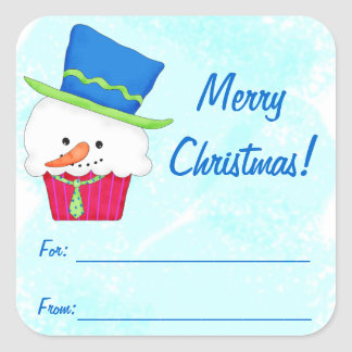 Christmas Snowman Cupcake Gift Label Square Stickers