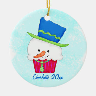 Christmas Snowman Cupcake Name Personalized Christmas Ornament