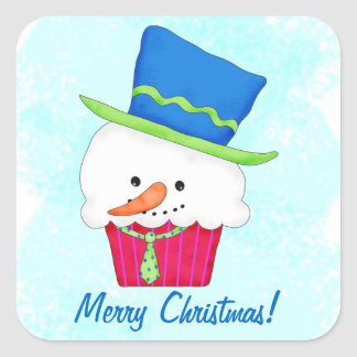 Christmas Snowman Cupcake Name Personalized Square Stickers