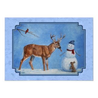 Christmas Snowman Deer Cute Bunny Blue 13 Cm X 18 Cm Invitation Card