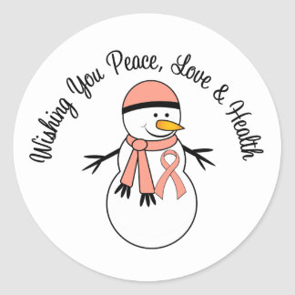 Christmas Snowman Endometrial Cancer Ribbon Round Sticker