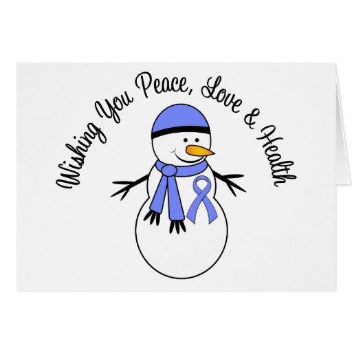 Christmas Snowman Esophageal Cancer Ribbon Greeting Cards