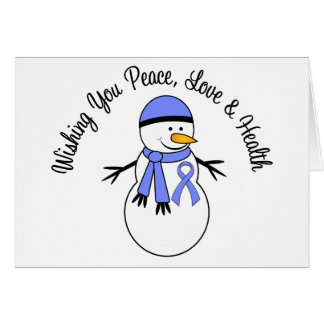 Christmas Snowman Esophageal Cancer Ribbon Greeting Card