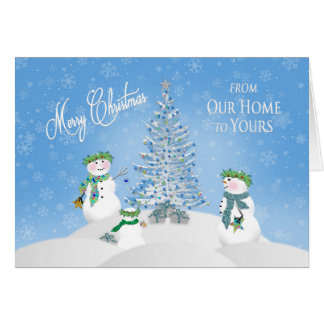 CHRISTMAS - Snowman Family -From Our Home to Yours Greeting Card