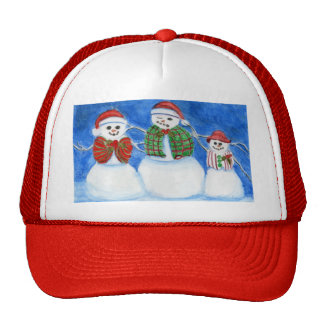Christmas Snowman Family Hand Drawn and Painted Mesh Hat