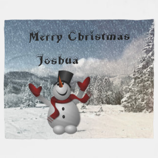 Christmas Snowman Fleece Blanket
