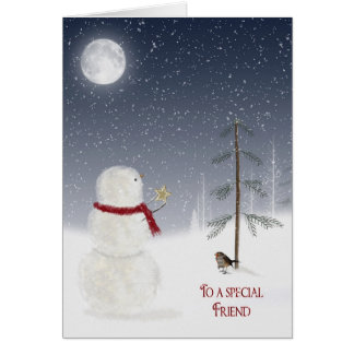 Christmas Snowman for Friend Card