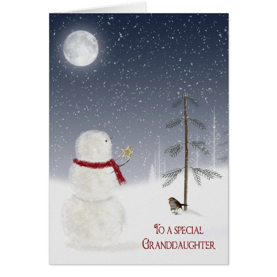 Christmas Snowman for Granddaughter Card