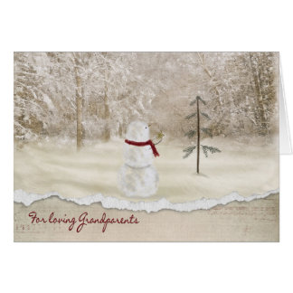 Christmas snowman for Grandparents Greeting Card