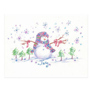 Christmas Snowman Frosty Joy Drawing Art Postcard
