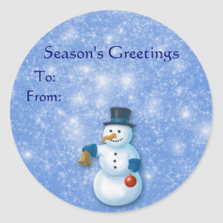 Christmas Snowman Gift Tags Round Stickers