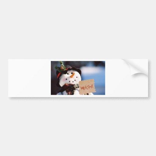 Christmas Snowman Greeter Bumper Sticker