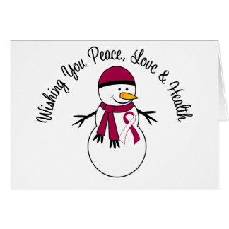 Christmas Snowman Head Neck Cancer Ribbon Greeting Card