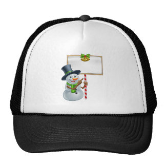 Christmas Snowman Holding Sign Cap