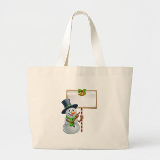 Christmas Snowman Holding Sign Large Tote Bag