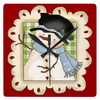 Christmas Snowman Holiday Cartoon clock