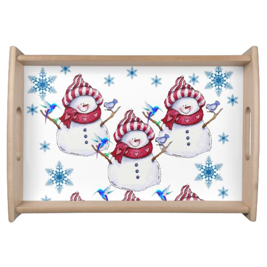 Christmas snowman holiday serving tray