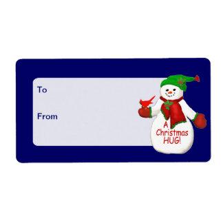 Christmas Snowman Hug Gift Tags Shipping Label