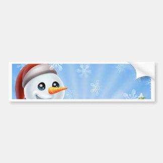Christmas Snowman in Winter Scene Bumper Stickers