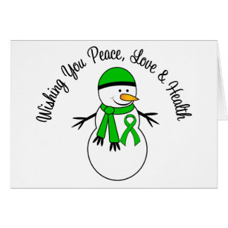 Christmas Snowman Kidney Cancer Ribbon Greeting Card