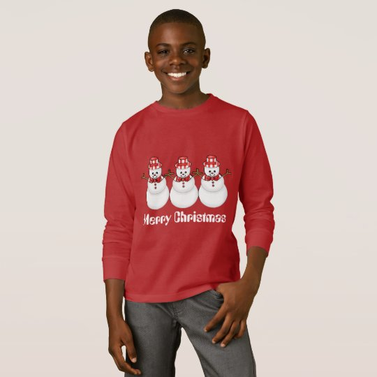 Christmas snowman kids fun Holiday t-shirt