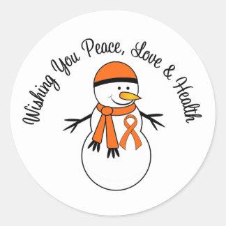 Christmas Snowman Leukemia Ribbon Round Sticker
