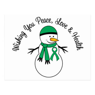 Christmas Snowman Liver Cancer Ribbon Postcard