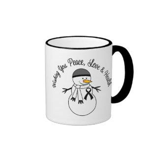 Christmas Snowman Melanoma Ribbon Coffee Mugs