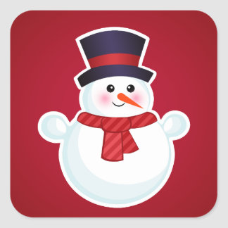 Christmas Snowman on Red Background Square Sticker