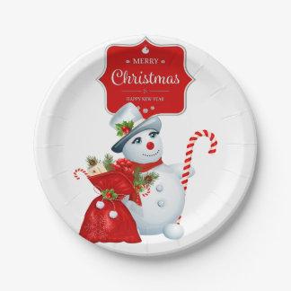 Christmas Snowman Paper Plates