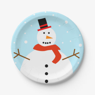Christmas Snowman Paper Plates 7 Inch Paper Plate