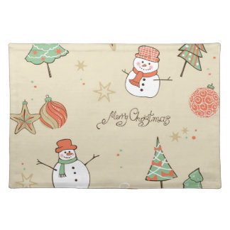Christmas snowman pattern placemat