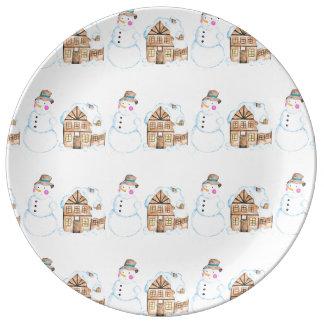 Christmas Snowman Pattern Plate