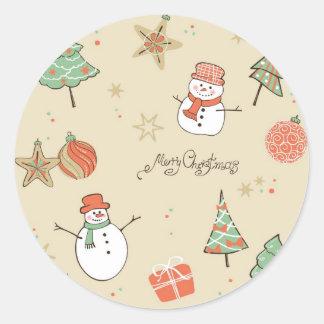 Christmas snowman pattern round sticker