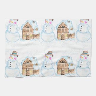 Christmas Snowman Pattern Tea Towel