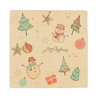 Christmas snowman pattern wood coaster