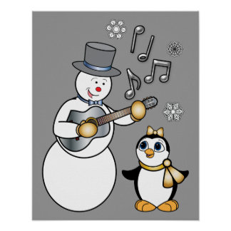 Christmas Snowman, Penguin and Guitar Poster