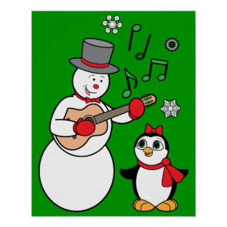 Christmas Snowman, Penguin and Guitar Posters