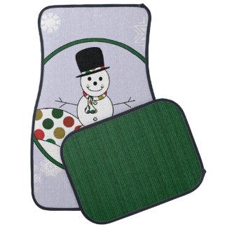 Christmas Snowman Polkadot Art With Pattern Floor Mat
