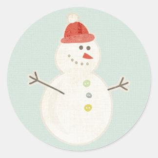 christmas snowman retro stickers