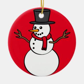 Christmas Snowman Round Ceramic Decoration