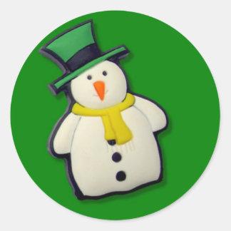 Christmas Snowman Round Sticker